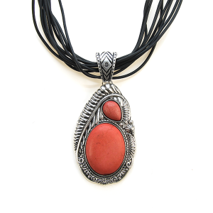 Necklace 1340a 40 Icon Collection string necklace stone navajo coral