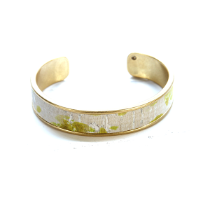 Bracelet 628h 40 Icon Collection splatter leather cuff yellow