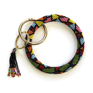 Keychain 138b 40 Icon Collection bead wrist keychain tassel multicolor