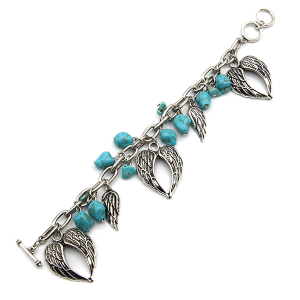 Bracelet 418b 40 Icon Collection stone turquoise charm bracelet silver wings