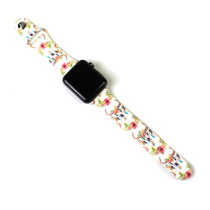 Watch Band 141a 08 42mm 44mm watch band floral longhorn white