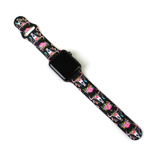 Watch Band 136c 08 42mm 44mm watch band floral longhorn black
