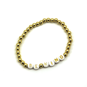 Bracelet 505a 45 Frenzy bead bracelet stretch gold be kind