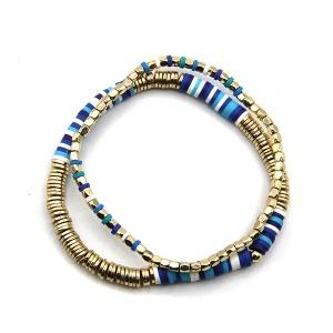 Bracelet 504a 45 Frenzy 2 stack bracelet contemporary blue gold