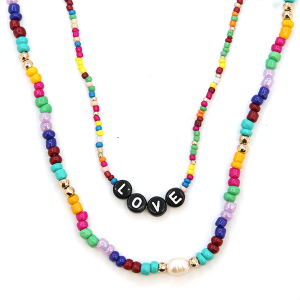Necklace 2022a 45 Frenzy multicolor bead love necklace