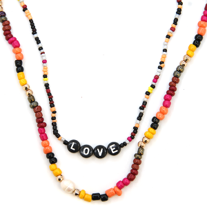 Necklace 1996b 45 Frenzy multicolor sunset bead love necklace