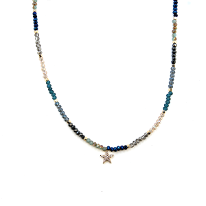 Necklace 1778d 45 Frenzy contemporary star bead necklace choker turquoise multi