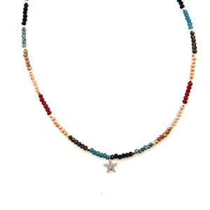 Necklace 1729b 45 Frenzy contemporary star bead necklace choker multi