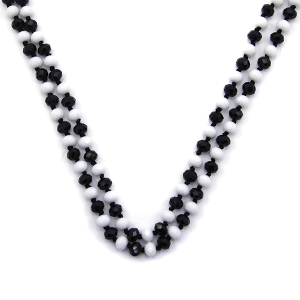 Necklace 901a 46 Encour 30 60 inch bead necklace black white