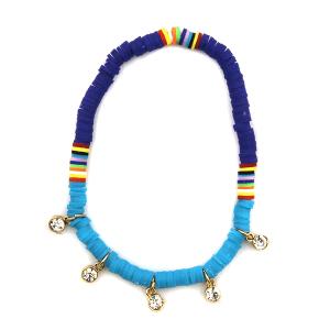 Anklet 004 47 Oori bohemian disc bead navy