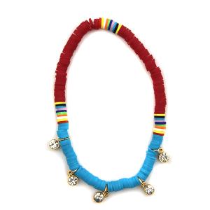 Anklet 002 47 Oori bohemian disc bead pink