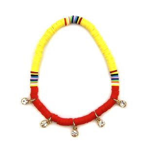 Anklet 007 47 Oori bohemian disc bead yellow