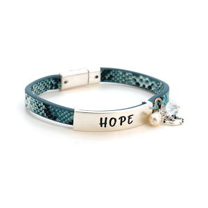 Bracelet 459d 47 Oori hope magnetic band charm snake print blue