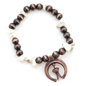 Bracelet 387c 47 Oori bead stone arc charm navajo bracelet white copper