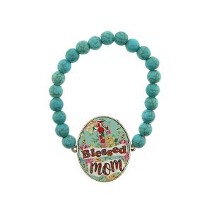 Bracelet 168g 47 Oori navajo bead blessed mom floral turquoise