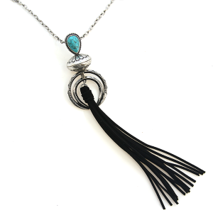 Necklace 616b 47 Oori navajo arc tassel necklace turquoise silver