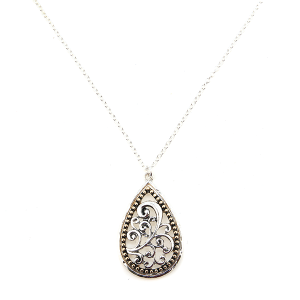 Necklace 1127c 47 Oori Chain long tear drop filigree gold accent silver