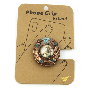 Phone Grip 028a 47 Oori western Cowboy horseshoe copper