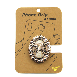 Phone Grip 019a 47 Oori western Indian chief bronze