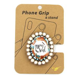 Phone Grip 023g 47 Oori concho feather gypsy soul white