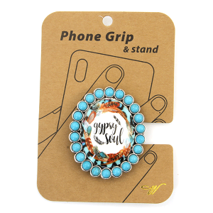 Phone Grip 018g 47 Oori concho feather gypsy soul turquoise