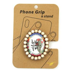 Phone Grip 011c 47 Oori concho cactus wild and free white