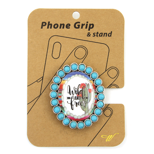 Phone Grip 061a 47 Oori concho cactus wild and free turquoise
