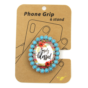 Phone Grip 032a 47 Oori concho serape flower simply blessed turquoise