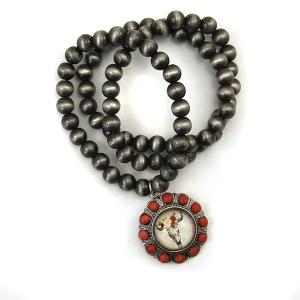 Bracelet 385 47 Oori bead bracelet navajo gem longhorn silver red