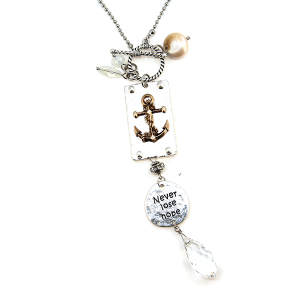 Necklace 670a 47 Oori Charm Necklace never lose hope anchor silver