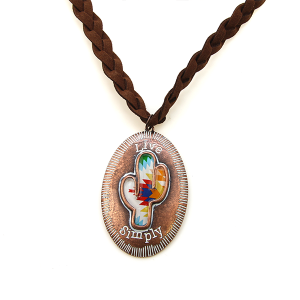Necklace 986 47 Oori live simply cactus leather necklace copper
