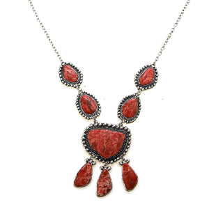 Necklace 1499a 47 Oori Navajo Stone Dangle necklace red