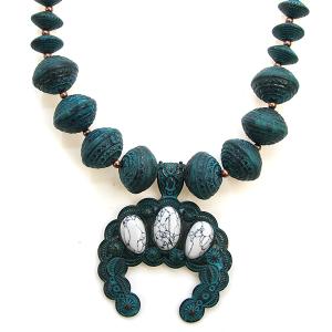 Necklace 1187 47 Oori navajo bead stone arc necklace patina white