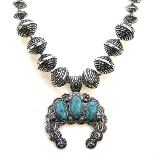 Necklace 1189 47 Oori navajo bead stone arc necklace silver turquoise