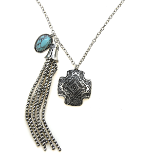 Necklace 1165a 47 Oori chain charm necklace tassel silver turquoise