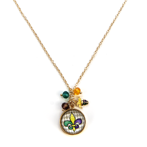 Mardi Gras Necklace 014c 47 Oori Fleur De Lis Necklace charm gem multicolor