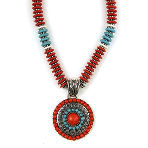 Necklace 1601 47 Oori bead concho collar necklace coral turquoise