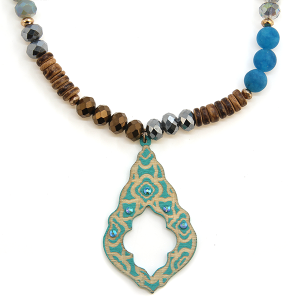 Necklace 1425 47 Oori Western Chic bead wood necklace
