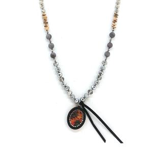 Neckalce 2020 47 Oori W western chic bead necklace gray
