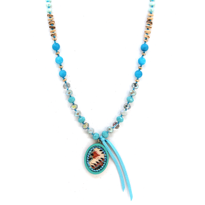 Neckalce 2084 47 Oori W western chic bead necklace turquoise