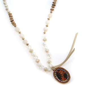 Necklace 2140 47 Oori W western chic bead wood rhinestone necklace