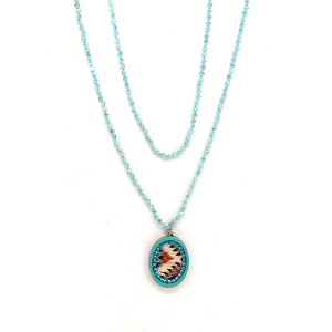 Necklace 2101 47 Oori W western chic bead necklace skinny turquoise