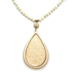 Necklace 1940d 47 Oori W tear drop wood glitter bead necklace ivory