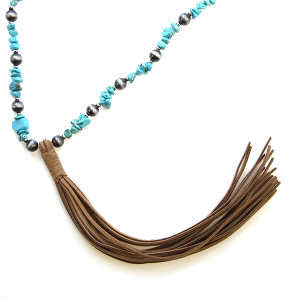 Necklace 357a 47 Oori W bead stone tassel necklace turquoise