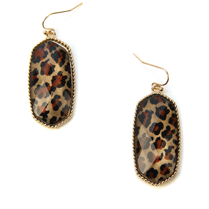 Earring 791b 50 It's Sense hex drop gem earrings leopard gold