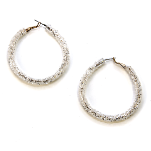 Earring 2844b 50 It's Sense glitter hoop earring white silver