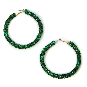 Earring 576b 50 It's Sense glitter hoop earrings green