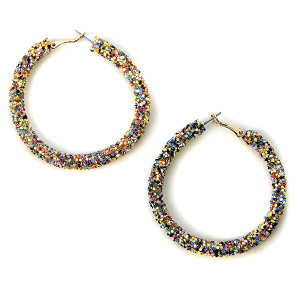 Earring 571j 50 It's Sense glitter hoop earrings multicolor