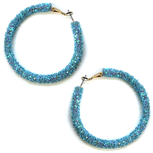 Earring 2063b 50 It's Sense glitter hoop earrings light blue