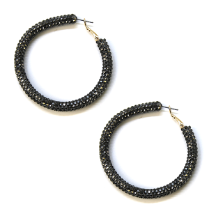 Earring 806b 50 It's Sense rhinestone earrings hoop hematite